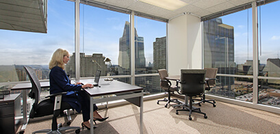Office suites in US Bank Tower are an office and meeting room combined