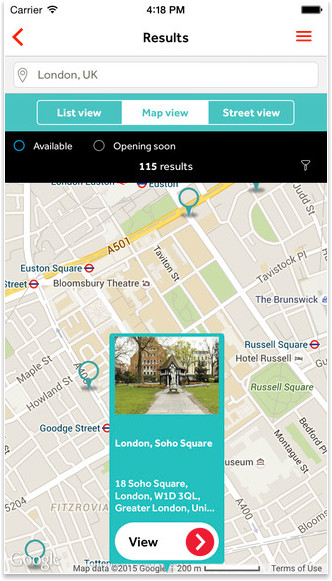 Search for nearby Offices locations on Regus APP